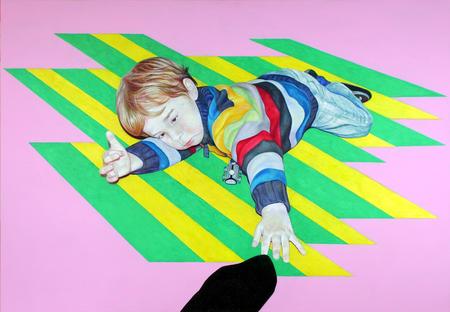 Spielendes Kind I. Farbstift-Malerei von Gabi Klinger. Coloured Pencil. Playing Child