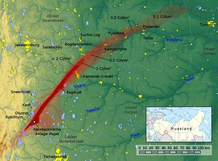 Carte de la zone contaminée par la catastrophe de Kychtym