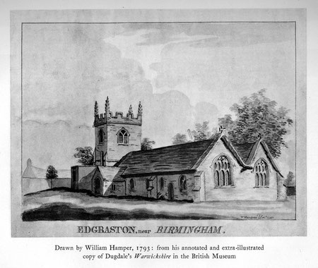 Edgbaston Church. Illustration by William Hamper 1793 in William Dugdale's Antiquities of Warwickshire 1656 downloaded with kind permission from sally_parishmouse on Flickr. See Acknowledgements for Sally Lloyd's Parishmouse website.