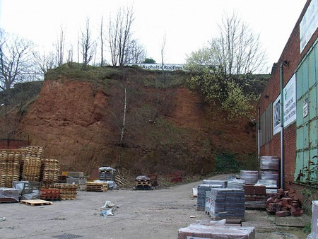 Sandstone cliffs east of Salford behind industrial units on the Tyburn Road.