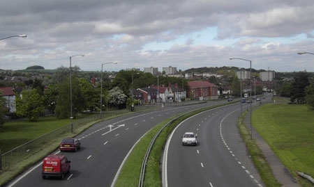 Rubery Bypass looking north-east - photographer on Whettybridge Road bridge. Frankley Beeches can be seen on the left, Rubery Hill is right of centre. Rubery centre is to the right of the picture.