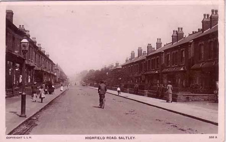 Highfield Road - date unknown. The road took its name from the topmost of Saltley's medieval strip fields. My thanks for the use of this postcard to JKC on the Birmingham History Webring Forum.