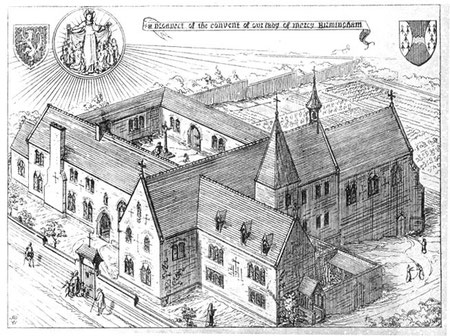 Convent of Our Lady of Mercy from A W N Pugin 1843 The Present State of Ecclesiastical Architecture, scanned image by George P. Landow from The Victorian Web - See Acknowledgements to link to this site.