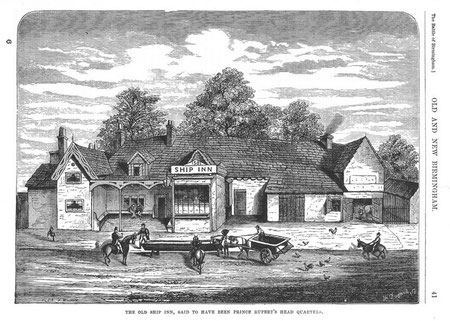 The Old Ship Inn: scanned from R K Dent Old & New Birmingham 1880, downloaded from sally_parishmouse on flickr. See Acknowledgements to link to Sally Lloyd's Parishmouse website.