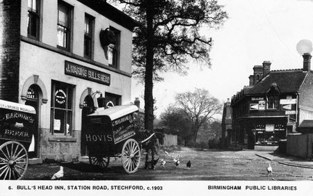 Lower Stechford - The Bull's Head c1903. Postcard published by Birmingham Public Libraries.