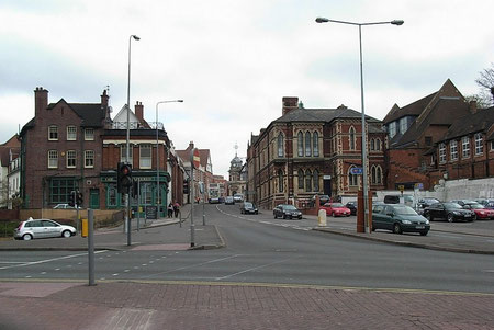 Looking up Mill Street to High Street (left at the top of the hill)