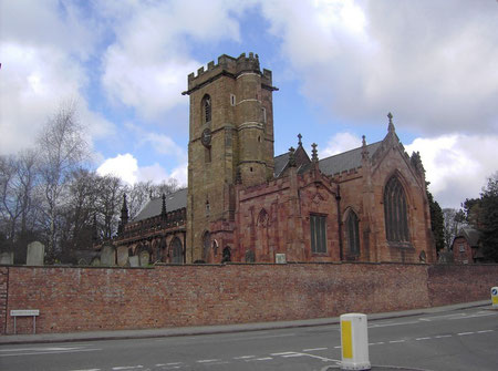 St Mary's Church. The Watt chapel is the redder addition nearest the camera.