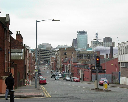 Deritend, Bradford Street, looking towards the City Centre. The bridge over the River Rea is just beyond the white lorry.