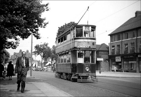 Tram No 587 waiting to pull forward into Wylde Green terminus. Photographed on a Kodak Brownie Box Camera on Saturday 27th July 1953 when the trams had just a week to survive. Courtesy of Robert Darlaston. All Rights Reserved. See Acknowledgements.