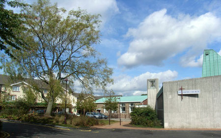 Shenley Fields shopping centre (left); St David's Church (right).