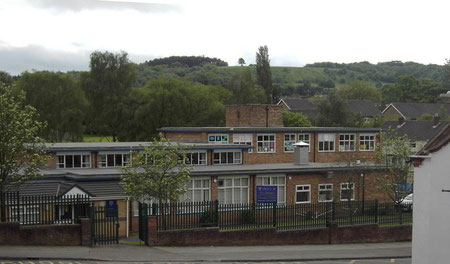 St James RC School, Leach Heath Lane; the Lickey Hills in the background.