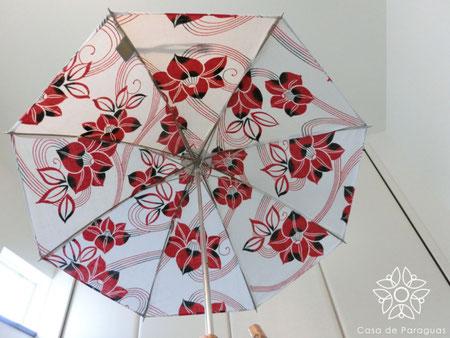 この日傘は、浴衣をリメイクしています。