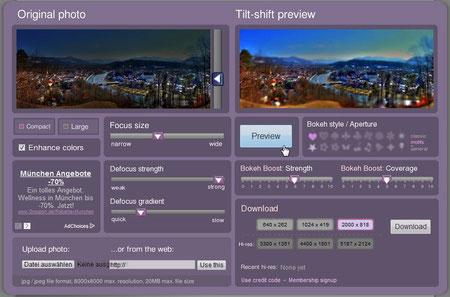 TiltShiftMaker, das Ergebnis ist oben auf dieser Seite zu sehen