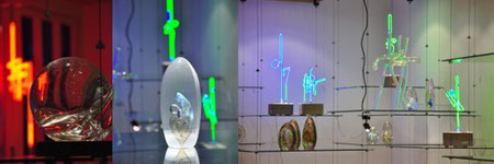 Jörg Hanowski Studioglas in der CCAA GLASGALERIE KÖLN, Glaskunst, Lichtskulpturen, Studioglas