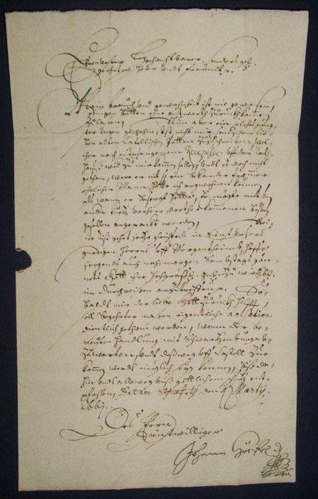 Eigenhändiger Brief des Johann Höfel v. 1661 an Grafen v. Castell