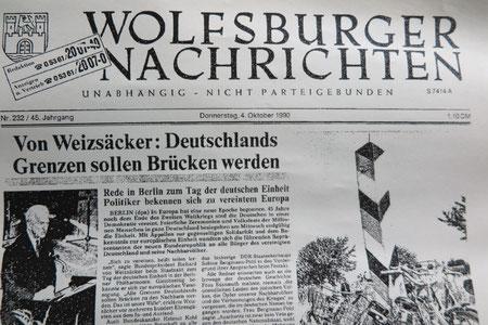 Die Titelseite der Wolfsburger Nachrichten am 4. Oktober 1990. Abdruck mit freundlicher Genehmigung der Wolfsburger Nachrichten und freundlicher Unterstützung des Wolfsburger Instituts für Zeitgeschichte und Stadtrepräsentation