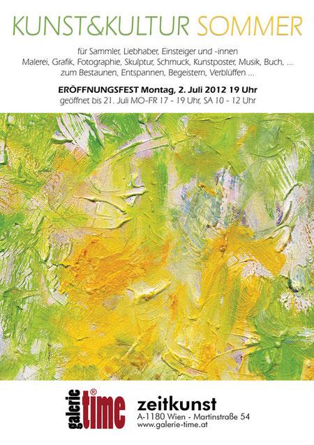 Galerie Time Ausstellung Kunst & Kultur Sommer 2012 mit Malerei, Grafik, Fotographie, Skulptur, Schmuck, Kunst Poster, Musik, Buch.