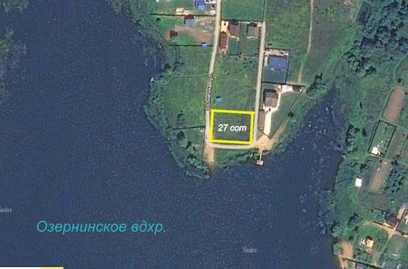 Участок 27 соток в первой линии Озернинского водохранилища. Нововолково.