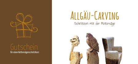Gutschein - Schnitzkurs mit der Kettensäge - Allgäu-Carving by Martina Gast