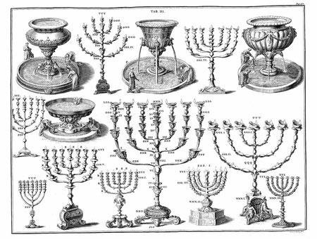 various menorah illustrations 22 almond blossoms, Structure Menorah