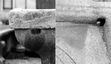 Fig. 10 - Rappresentazione del foro all'interno della vasca in pietra.