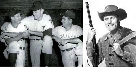 """Nella foto di sinistra Kevin """"Chuck"""" Connors (al centro) come baseball player  a destra nei panni di Rifleman"""