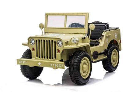 Jeep/ Willys MB Retro/3-Sitzer/Kinderauto/Kinder Elektroauto/dreisitzer/sandfarben/