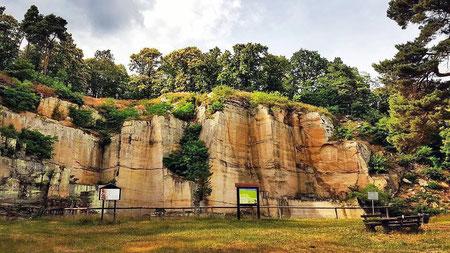 Am römischen Steinbruch oberhalb von Bad Dürkheim erläutern Informationstafeln die Kunst der spätantiken Steinhauer.