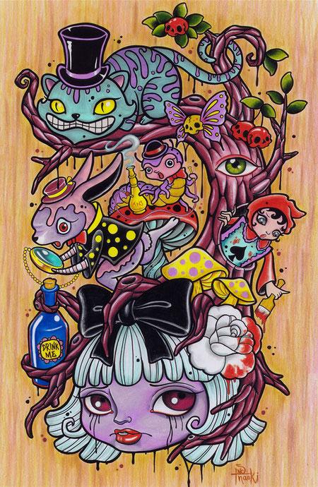 アリス 猫 うさぎ 木 樹 色鉛筆