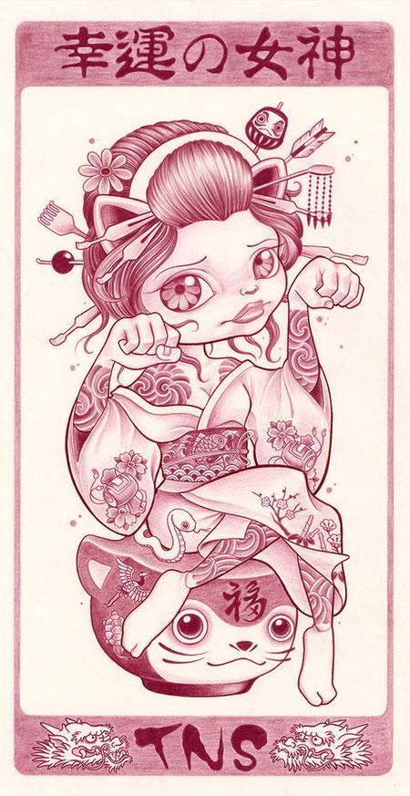 招き猫 イラスト 女の子 幸運 女神