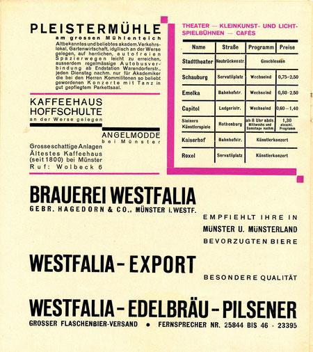 Theater, Kinos und Tanzlokale 1929
