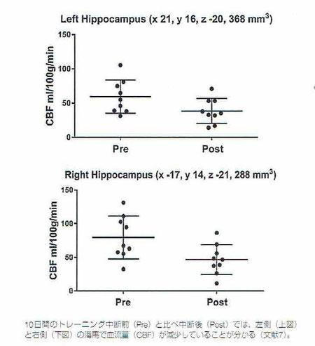トレーニングの中断と海馬の血流量の変化
