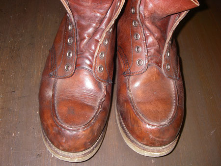徳島県阿南市 靴修理&靴磨き専門店 シューズマイスター 靴磨き スムースレザー 茶色 メンズ レッドウイング