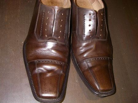 徳島県阿南市 靴修理&靴磨き専門店 シューズマイスター 靴磨き スムースレザー 茶色 メンズ