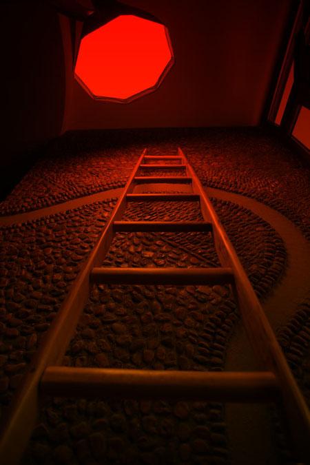 Shooting fotografico di scale a pioli per arredamento di interni
