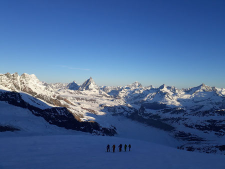 Morgenstimmung, Nordend, Skihochtouren, Monterosa, Matterhorn, Dent Blanche