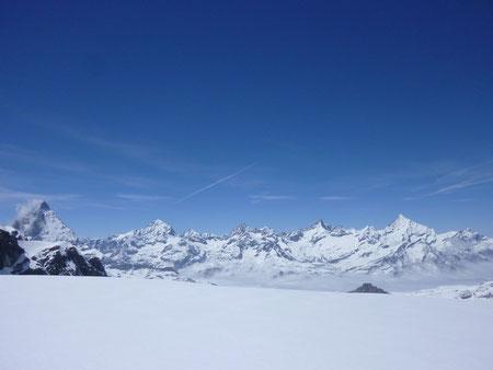 Zustieg, Monterosa Hütte, Schwarztor, Skitour,Schwärzegletscher, Matterhorn, Dent Blanche, Obergabelhorn, Zinalrothorn, Weisshorn