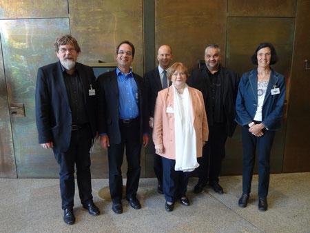 Von links nach rechts: Dr. de Witt (Landesmusikrat), Kugler (DTKV NRW), Busshuven (VFB NW), Krieger (DTKV NRW), Keymis, MdL (Grüne), Keusen-Nickel (DTKV NRW)
