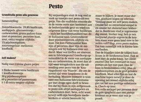 Restaurant Classico, recept Pesto