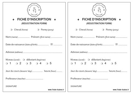 imprimer la fiche d'inscription au poney club