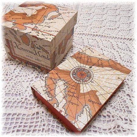 #222-223 古地図柄のカルトナージュ