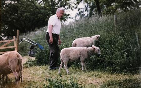 Franz mit unseren ersten Schafen