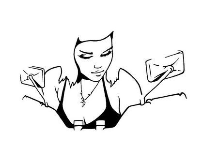 dessin de motarde noir et blanc