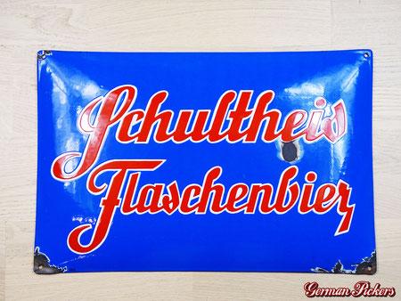 Schultheis Bier vom Rhein Weissenthurm - Emailschild  Hersteller Boos & Hahn Plakatfabrik Ortenberg (Baden)  Koblenz Weissenthurm um 1930