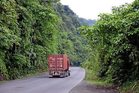 Die Hauptstraße führt durch den Nationalpark Braulio Carillo. Tiefe Schluchten mit Primärurwald, leider kann ich wegen des Verkehrs kaum anhalten.