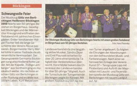 Pressebericht über unser Jubiläum 2009