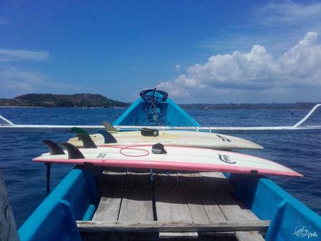 Mit dem Boot zum Surfspot Gerupuk