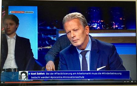 Pro und Contra mit Reinhold Mitterlehner auf Puls 4