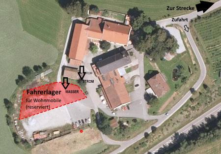 Der rot eingezeichnetet Bereich ist für die Teilnehmer mit Wohnmobilen reserviert