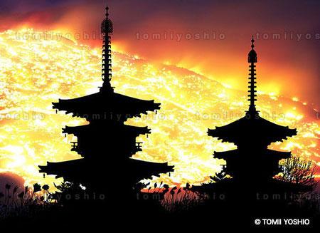 奈良・若草山焼き。薬師寺の二つの塔のシルエット/撮影:富井義夫